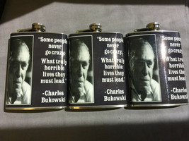Set of 3 Charles Bukowski Some Never Go Crazy Flasks 8oz Stainless Steel - $21.73