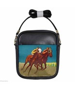 THE SPORT OF KINGS HORSE RACING CHICAGO Leather Sling Bag Small Purse - $16.10