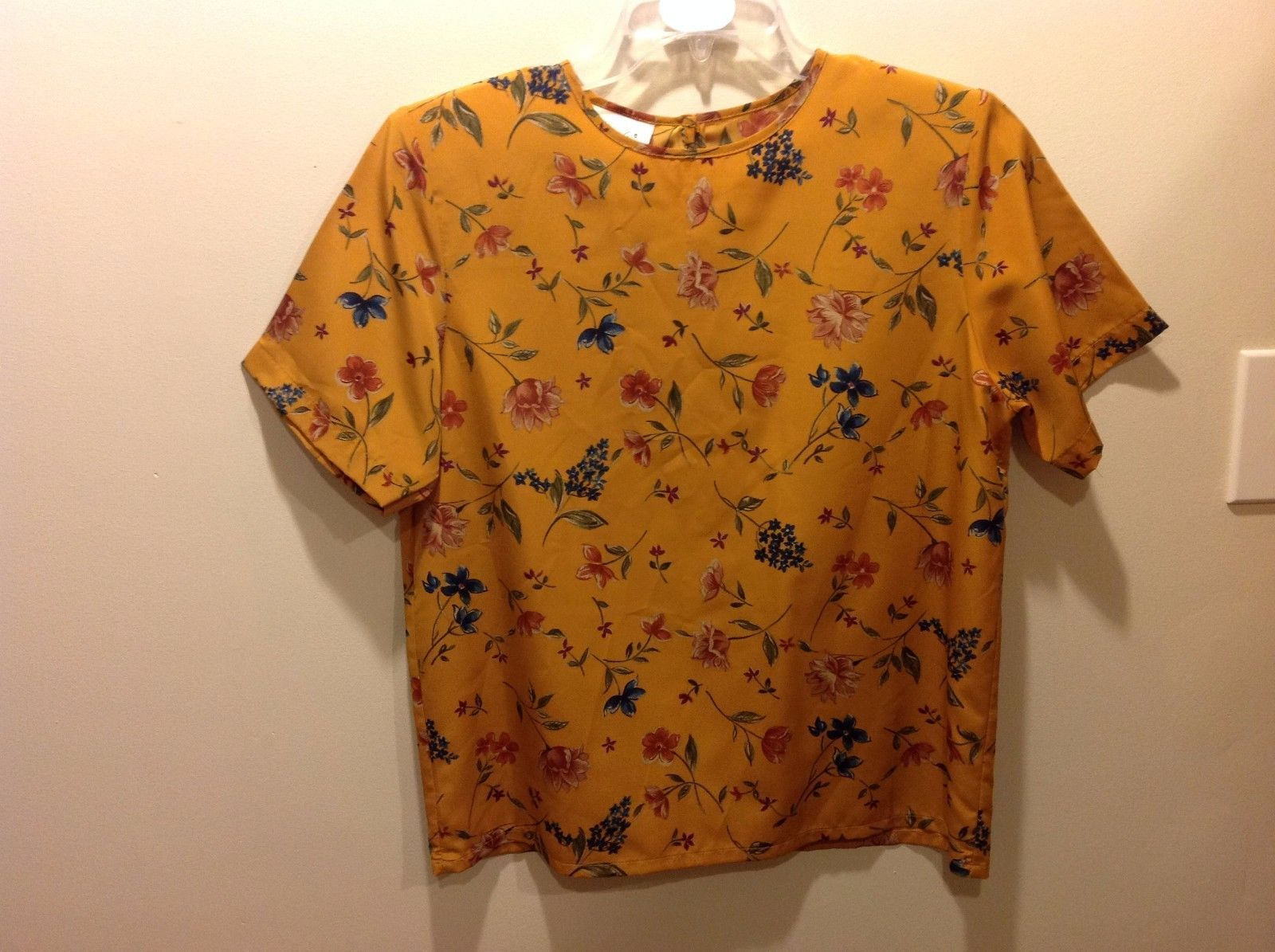 Floral Mustard Yellow Short Sleeve Blouse Sz 12