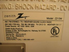 Zenith Clock Radio Stereo Z213W AM/FM/Weather with AUX image 6