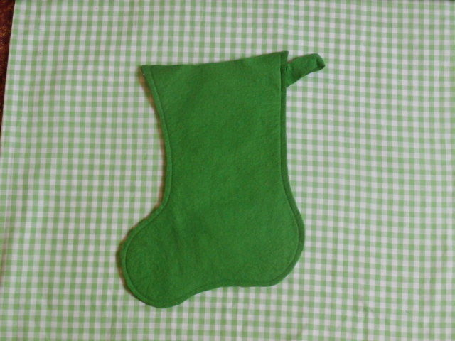 Vintage Felt Christmas Stocking Green with Toy on Front