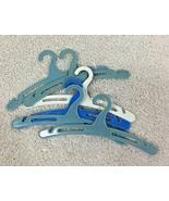 Tiny Plastic Blue Dollhouse Doll & Teddy Bear Clothing Hangers Blue + Lo... - $9.90