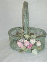 Cute Decorative Dusty Green Small Wire Basket With Handle  - $4.99