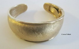 Vintage 1960's Crown Trifari Brushed Gold Bangle Bracelet Moveable Hinge  - $29.99