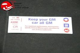 "72 Camaro Z28 Air Cl EAN Er ""Keep Your Gm All Gm"" Code ""Cr"" Decal Gm # 6485887 - $999.99"