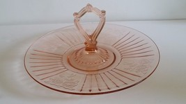 DEPRESSION GLASS MAYFAIR PINK OPEN ROSE CENTER HANDLE SANDWICH PLATTER S... - $27.50