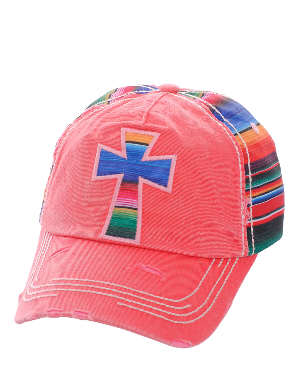 Distressed Serape Striped Cross Baseball Cap Hat Adjustable Fuchsia Hot Pink