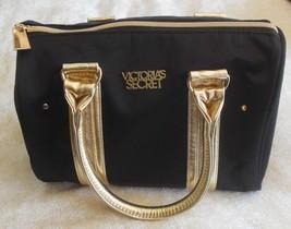Victoria's Secret Black/Gold-tone Fabric Handbag/Cosmetic Bag - $30.99