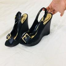 Nine West Women Wedges Size 7.5 Sling Back Faux Leather Black - €21,57 EUR