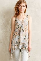 Maeve Anthropologie Magda Ruffle Floral Printed Sheer Tunic Blouse Size S  - $54.45