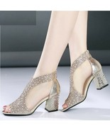 Women Sandals Bling High Heels Diamond Square Wedding Leather Shoes Ankl... - $24.35+