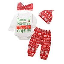 2018 Brand New Cute Christmas 4Pcs Newborn Baby Boy Girl Outfits Long Sl... - $12.74