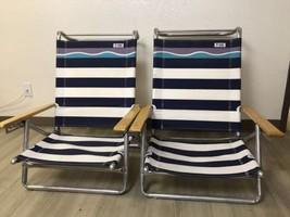 Pair Of Debro Blue Stripe Aluminum Cloth Folding Beach Low Adjustable Ch... - $95.00