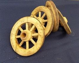 4 Vintage Wooden Baby Buggy Wheels Pedal Car Garden Cart Pumpkin Wagon a19 - $88.00