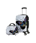 Butterfly 2pc Hardside Carry-on Spinner Luggage Set Butterfly Ladies Tra... - $151.59