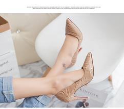 pp324 elegant 10 cm heel pointy pump. embossed leather, US Size 4-8.5 brown - $48.80