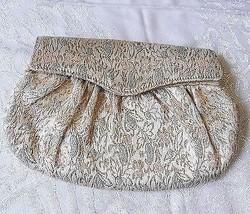 VINTAGE *DECO SMALL BROCADE CLUTCH BAG PURSE LIPSTICK INTERNAL POCKET BR... - $15.31