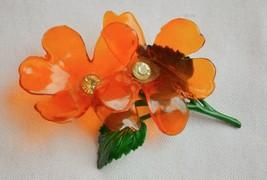 Vintage cellulose acetate double flower brooch orange rhinestone enamel ... - $32.66