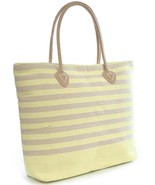OCTAVE® Ladies Bright Striped Paper Straw Summer Beach Bag - Light Green - $15.52 CAD