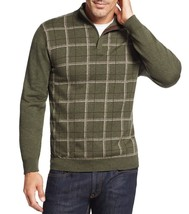 Tasso Elba Men's Green Olive Htr Shawl Grid Mock Neck Knit Pullover Sweater - $537,46 MXN
