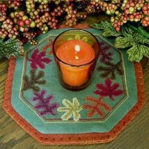 Leaves Little Candle Mat cross stitch chart Prairie Grove Peddler  - $8.00