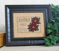 December Floral Postcard cross stitch chart From The Heart  - $5.00