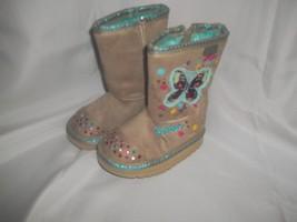 Toddler Size 5 Skechers Twinkle Toe Lights Tan Boots w/ Butterfly's NWOT - £23.24 GBP