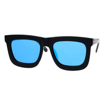 New Super Flat Lens Sunglasses Oversize Thick Square Frame Mirror Lens - $12.95