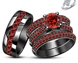 18k Black Rhodium FN. Red Garnet Antique Style Engagement Ring Set & Free Gift - £154.33 GBP