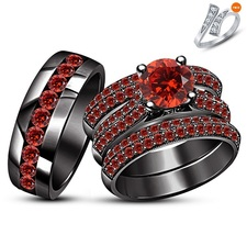 18k Black Rhodium FN. Red Garnet Antique Style Engagement Ring Set & Free Gift - $249.99