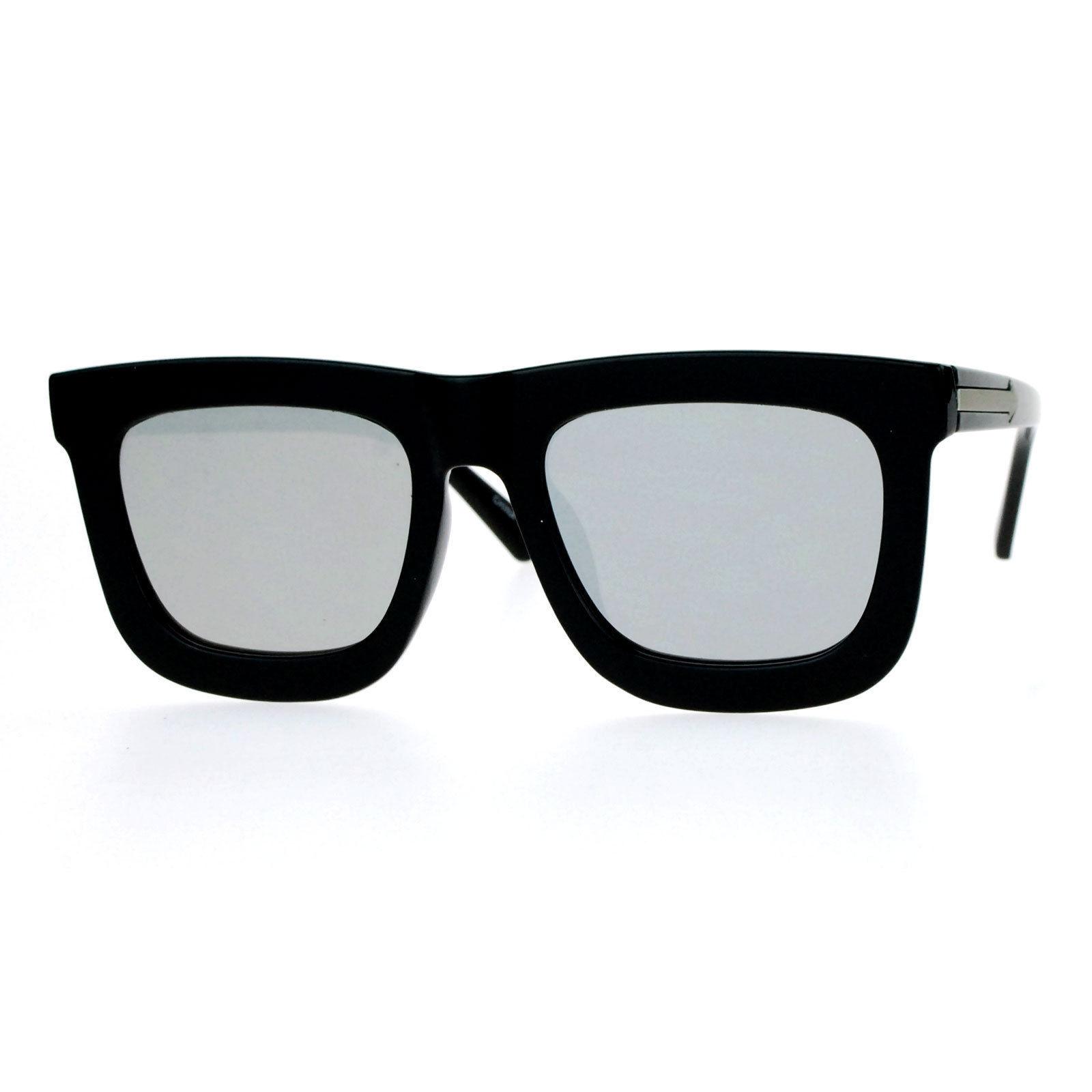 New Super Flat Lens Sunglasses Oversize Thick Square Frame Mirror Lens