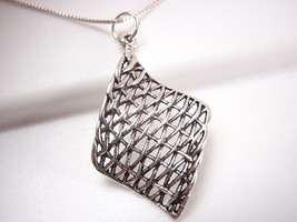 Curved Weave Necklace 925 Sterling Silver Corona Sun Jewelry - $14.09