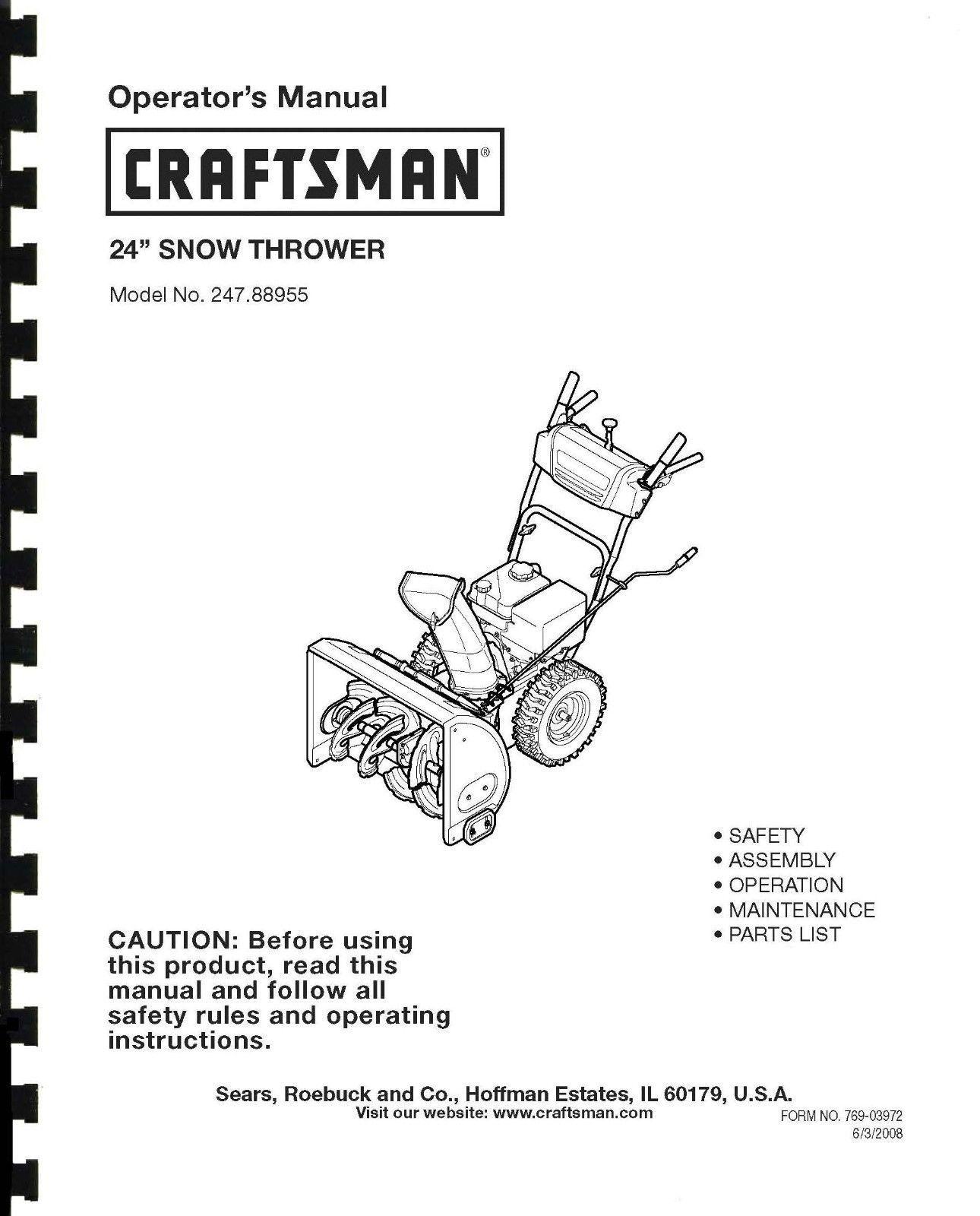 Craftsman Snow Thrower Operator/'s Manual Model No 247.885690