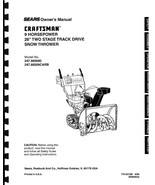 Craftsman Snow Thrower Operator's Manual Model No. 247.885690 - $12.50