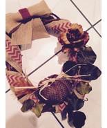 Fall Grapevine Wreath Burlap Door Wall Home Decor Pumpkin Feather Hand M... - $25.73