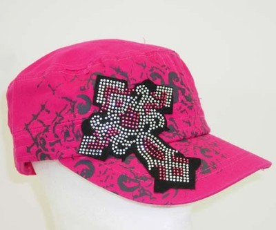 Primary image for NEW NWT  Pink Black Dk Gray Cross BLING RHINESTONE CROSS Cadet Hat Women Junior