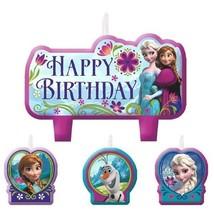 Disney Frozen 4 pc Candle Set Party Elsa Anna Olaf Happy Birthday - $5.69