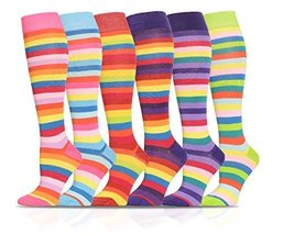 ICONOFLASH Casual Knee High Socks in Assorted Colors, 6 Pair Bundle Pack, Bri... - $17.81