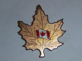 Vintage Maple Leaf Pin With Canadian Flag - $11.00