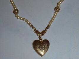 Vintage Faux Pearl Love Locket Necklace. - $15.00