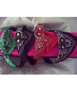 Med Adjust Pet Dog Bandana Scarf Collar Neckerchief Red Green Black Navy... - $5.99