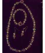 Gold Bead Bracelet Necklace Earrings  3piece VINTAGE Costume RARE  Jewel... - $29.99