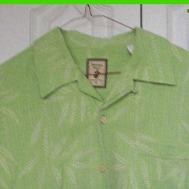 030693c25 EUC L Large Jamaica Jaxx Mens Green Leaf Silk Short Sleeve Button Down Shirt