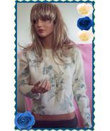 RARE Karen Scott  Ivory Blue Floral Vintage 80's Sweater Lambswool Angor... - $24.99