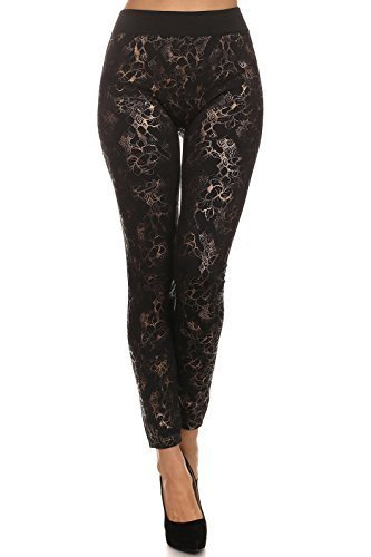 Primary image for ICONOFLASH Women's Metallic Print Fleece Leggings (Bronze Floral Tribal, One ...