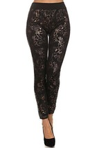 ICONOFLASH Women's Metallic Print Fleece Leggings (Bronze Floral Tribal,... - $17.81