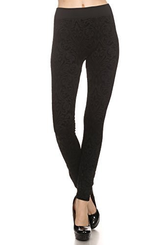 Primary image for ICONOFLASH Women's Fleece Lined Textured Flocked Velvet Leggings (Victorian, ...