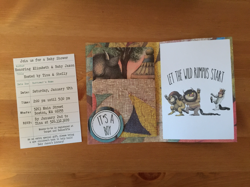 where the wild things are library book invitation baby shower