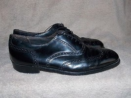 Dexter  Wing Tip Punched Black Leather Oxfords For Men 10 Ww Used - $34.64
