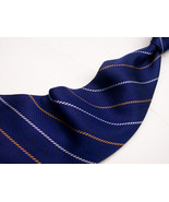 NAUTICA Blue - White /Copper STRIPES Zig Zag  Mens 100 SILK Necktie  s 6... - $15.99